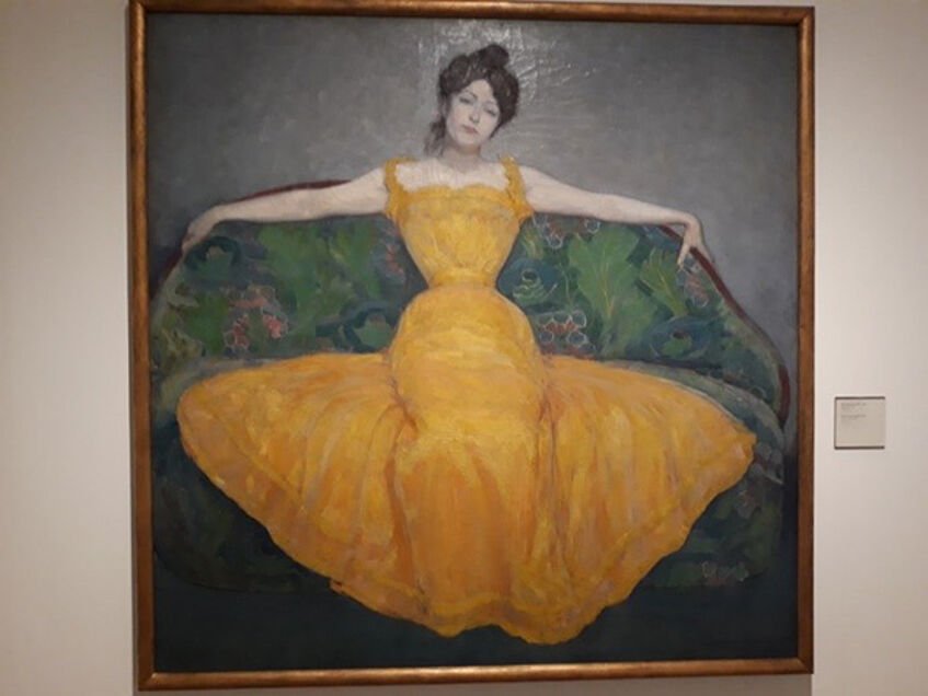 "The painting ""Woman in a Yellow Dress"" by Max Kurzweil"
