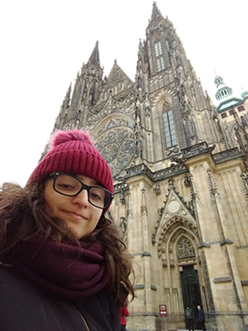 Jaqueline Cassemiro in front of St. Stephens Cathedral